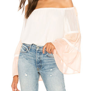 1. STATE Off Shoulder Colorblock Top Flowy XS